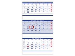 Tříměsíční kalendář skládaný modrý