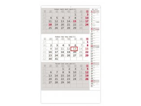 Tříměsíční kalendář šedý s poznámkami