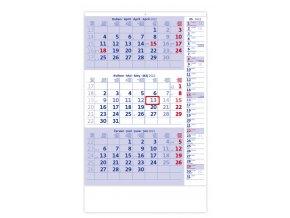 Tříměsíční kalendář modrý s poznámkami