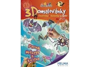 3D omalovánky Pavouk, kočka a netopýr
