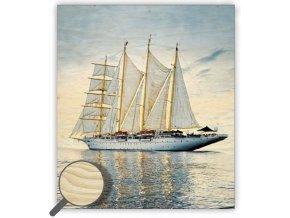 Moderní dřevěný obraz moře Sailing, obraz na stěnu do obýváku