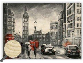 Dřevěný obraz na stěnu London, krásný dřevěný černobílý obraz s dopravou zdarma