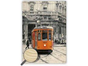 Moderní dřevěný retro obraz Tram