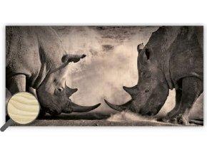Dřevěný černobílý obraz zvířata Rhinos, obraz na stěnu s dopravou zdarma