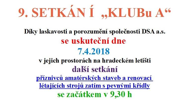 """9. SETKÁN Í """"KLUBu A"""""""