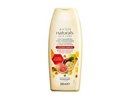 Avon Naturals Šampon a kondicionér 2 v 1 s grapefruitem a marakujou pro poškozené a barvené vlasy 250 ml