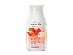 Avon Naturals Jemné tělové mléko s jahodou a bílou čokoládou 200 ml