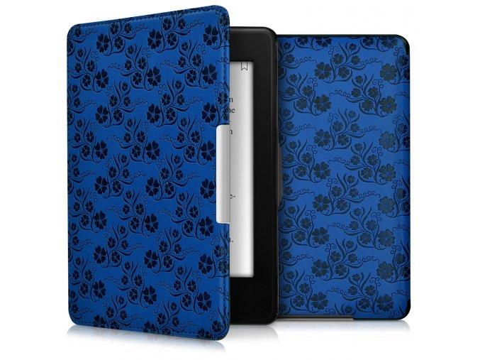 pouzdro obal kw kindle paperwhite 3 modre kvetiny f01