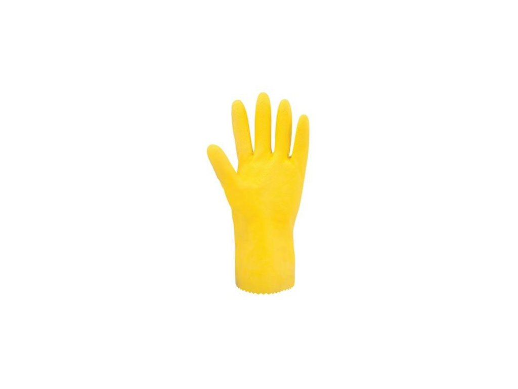 LATEX GLOVES, YELLOW, SIZE L