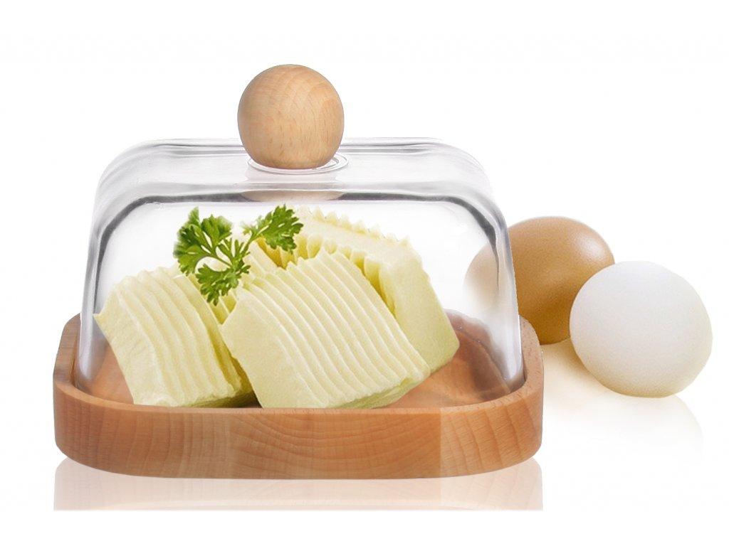Dóza na máslo dřevo/sklo