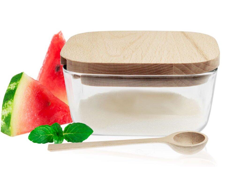 Dóza na cukr dřevo/sklo