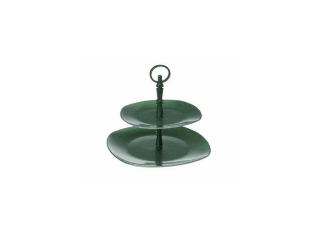 Talíř porcelán dvoupatrový (etažer) - zelený