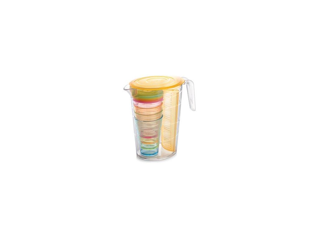 Džbán myDRINK 2.5 l, 4 poháry s víčkem, oranžová