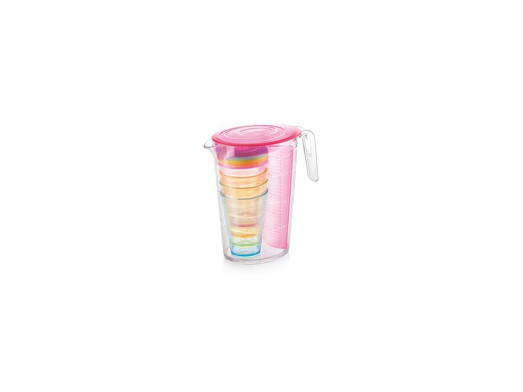 Džbán myDRINK 2.5 l, 4 poháry s víčkem, růžová