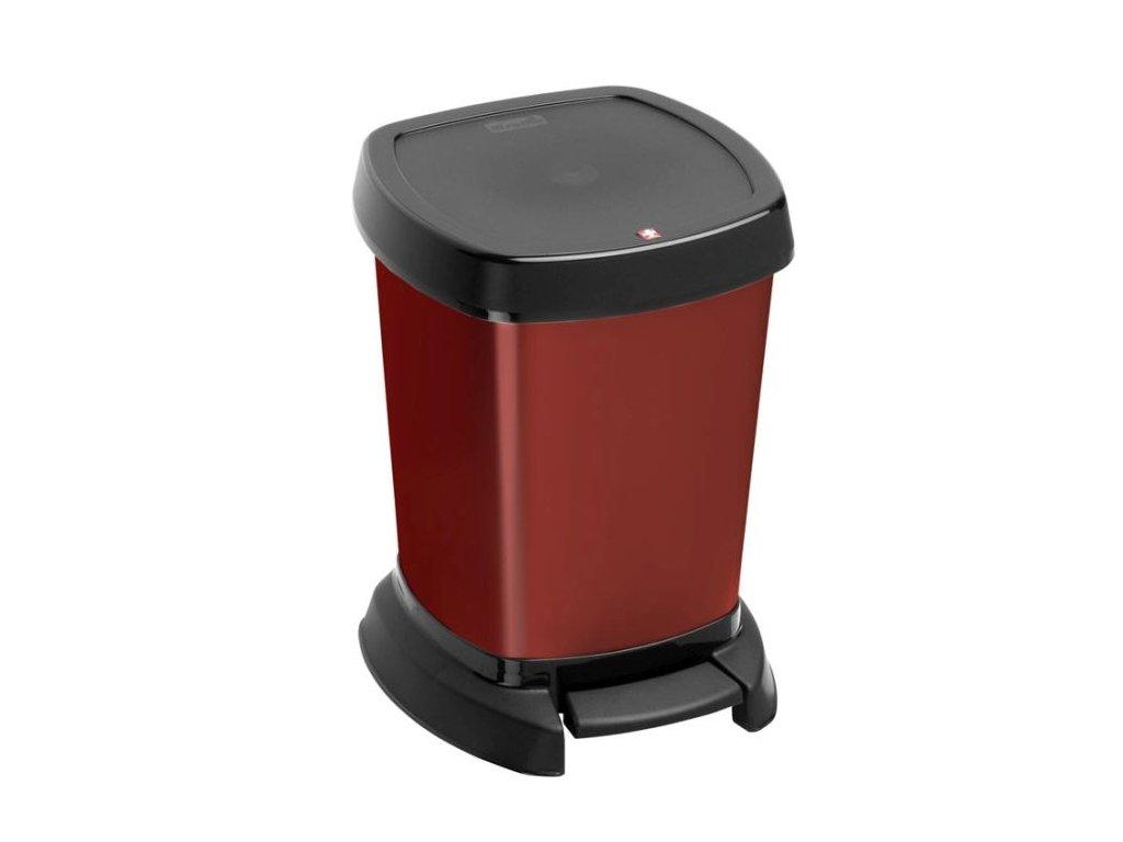 Koš odpadkový 6l PASO červený metal,pedál,23x22x30cm, Rotho