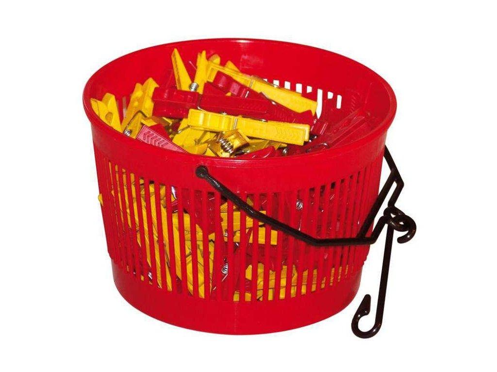 Košík na kolíčky s háčkem - červená