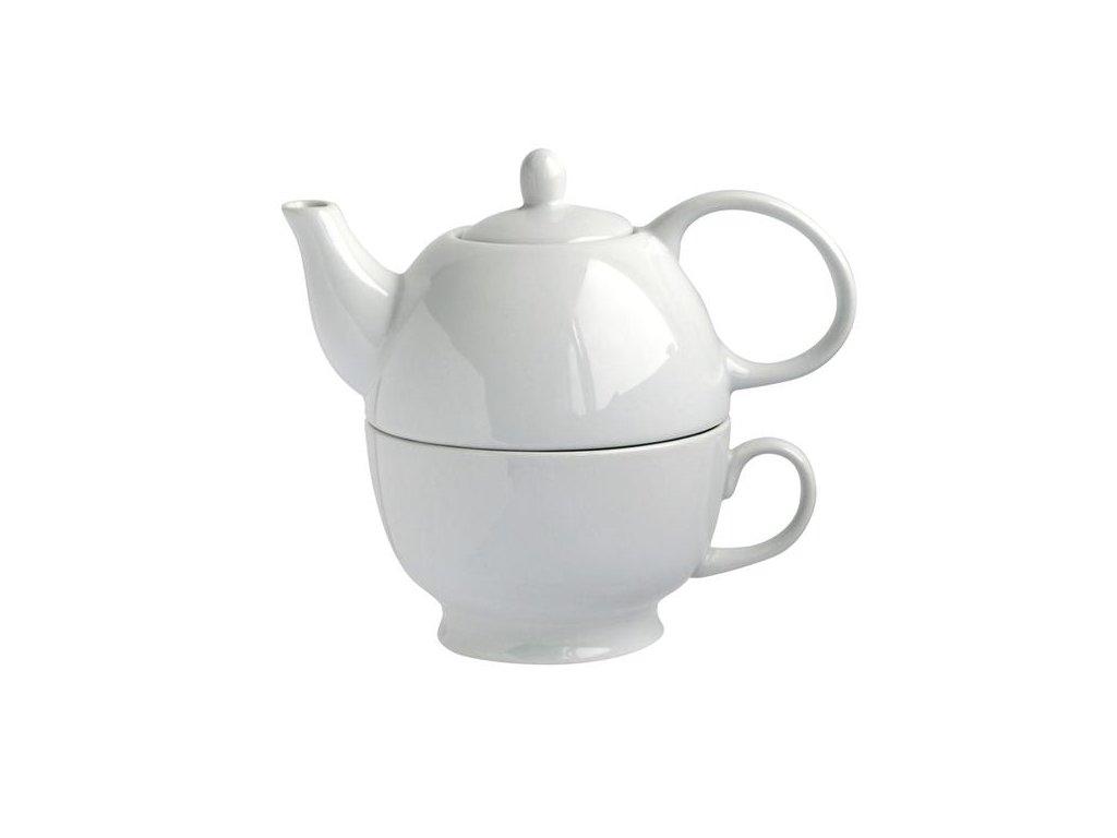 Konvička na čaj 480ml se šálkem 320ML, porcelán