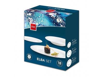 """PLATES SET """"ELBA"""", OPAL GLASS, 18PCS"""
