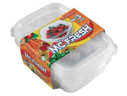 SET OF RECTANGULAR BOXES, 3X0,9L, PLASTIC