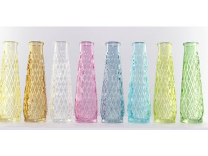 váza d 6,5x 22cm, 8barev, lisované sklo