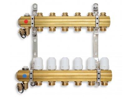 Rozdělovač s regulačními, termost. a mech. ventily 2 okruhy