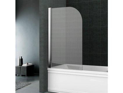 Vanová zástěna, 75 cm, leštěný hliník, sklo Point