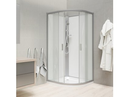 Sprchový box bez střechy, čtvrtkruh, 90 cm, R550, profily satin, sklo Point, SMC vanička, záda bílá
