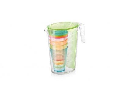 Džbán myDRINK 2.5 l, 4 poháry s víčkem, zelená