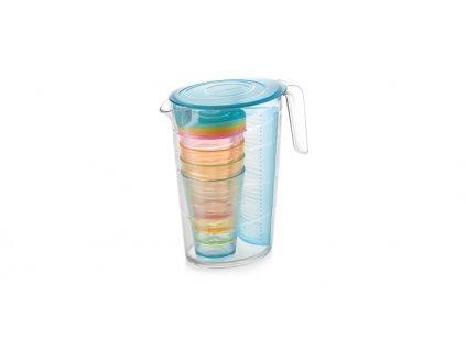 Džbán myDRINK 2.5 l, 4 poháry s víčkem, modrá