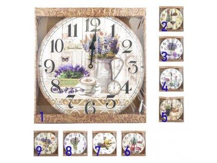 Print wood wall round clock 34, flowers design