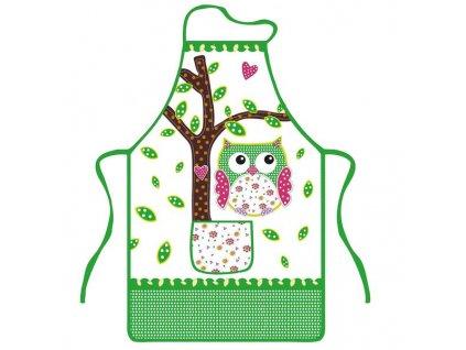 OWL PRINT APRON, 100% POLY,51X76cm