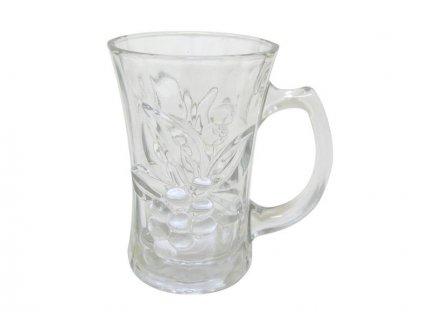 GLASS EMBOSS V MUG,CLEAR 180ML
