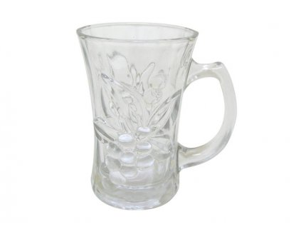 GLASS EMBOSS V MUG,CLEAR 180ML