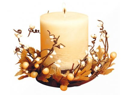 CREAM PILLAR X´MAS RING CANDLE