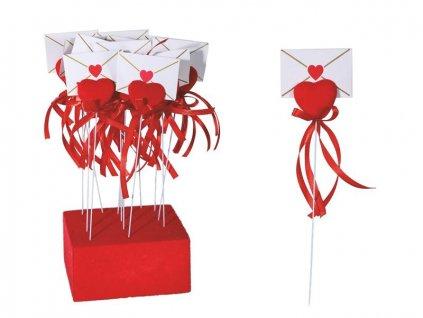 Zápich srdce s obálkou, plast a samet