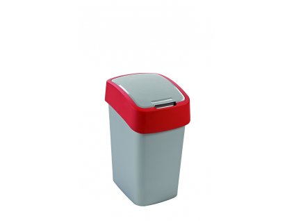 Koš odpadkový 10l FlipBin stříbrná/červená