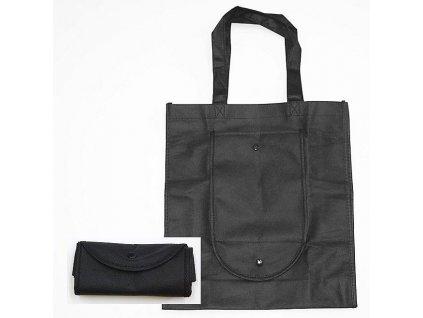 taška nákupní, 36x32x10cm, černá, skládací, textil