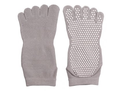 Ponožky Yoga, Piloxing, Pilates prstové, unisex šedá