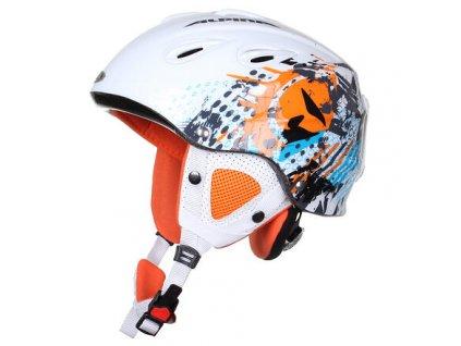 Grap lyžařská helma bílá-oranžová