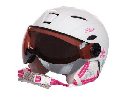 Rider PRO dětská lyžařská helma bílá-růžová