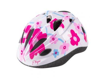 Pony dětská cyklistická helma bílá-růžová