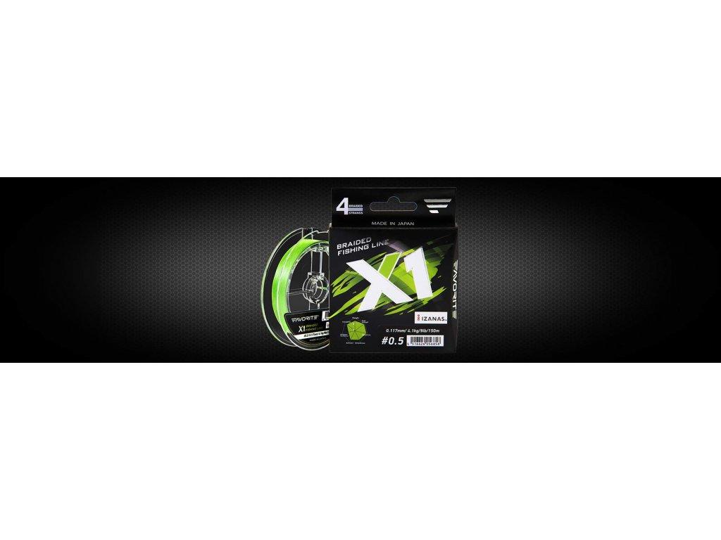 Favorite  Šňůra PE Line X1 PE 4x 150m Světle Zelená