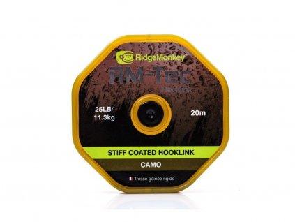 RidgeMonkey Pletená Šňůrka RM-Tec Stiff Coated Hooklink CAMO 15,9kg/20m
