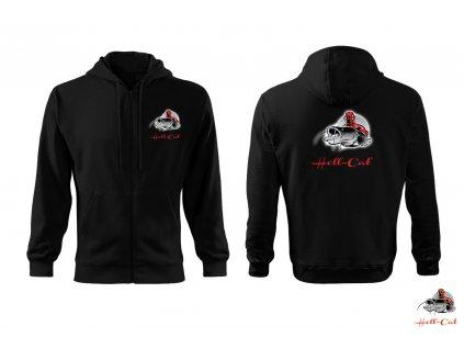 Hell-Cat mikina černá s kapucí a zipem