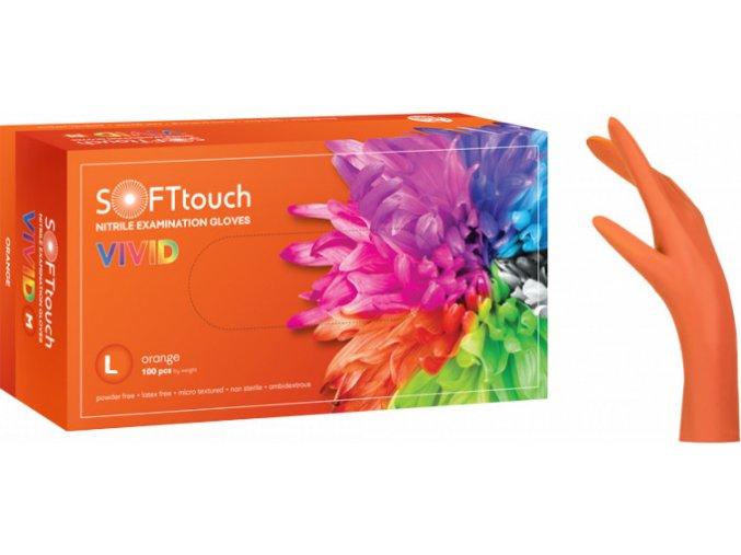 Nitrilové vyšetřovací bezpudrové rukavice VIVID SOFT Orange