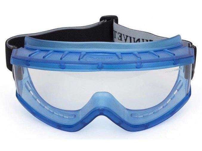 Uzavřené ochranné brýle s širokoúhlým a sférickým zorníkem UNIVET 619 pohled