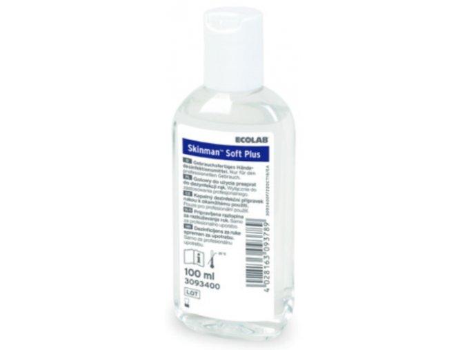 Tekutá alkoholová dezinfekce na ruce Skinman Soft Plus s extraktem heřmánku 100 ml.