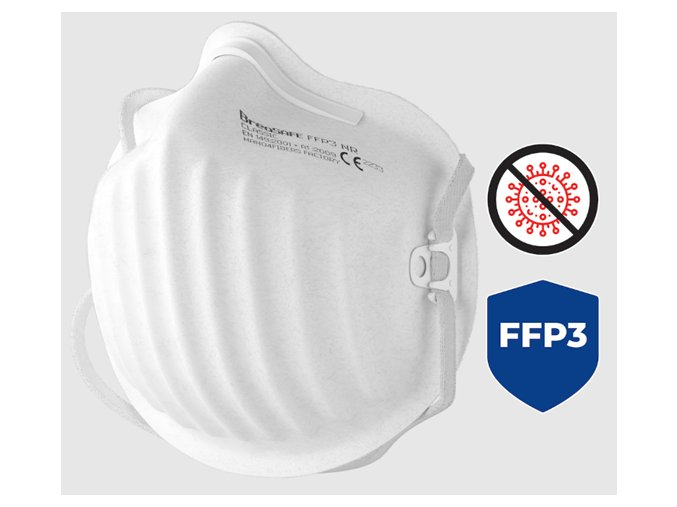 Nanovláknový respirátor BreaSAFE Classic FFP3 NR s aktivním stříbrem pro opakované použití