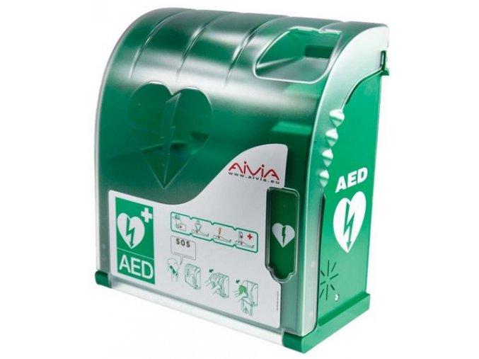 Nástěnný polykarbonátový box pro AED defibrilátor AIVIA 100 s alarmem
