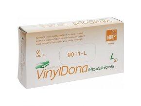 Vinylové bezpudrové vyšetřovací rukavice VinylDona L